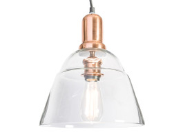 Clear Glass Pendant Antique Light With Brass Metal Holder - Bell