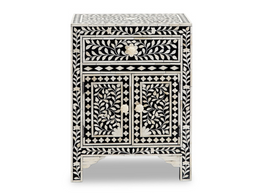 Black & Bone Inlay Bedside Cabinet