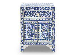 Bone Inlay Bedside Cabinet in Indigo