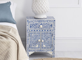 Indigo Blue Bone Inlay Bedside Table with Cabinet