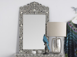 Bone Inlay Crested Mirror in Black