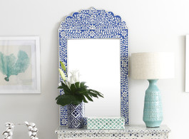 Indigo & Bone Inlay Crested Mirror