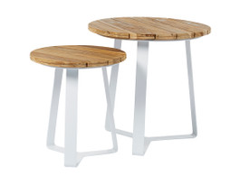 Cancun Ali Rustic Teak Round Side Tables