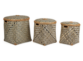 Set Of 3 Bamboo Chevron Laundry Basket