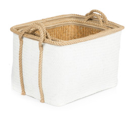 Set Of 3 Grass Baskets - White & Natural