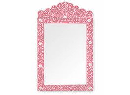 Mother of Pearl Inlay Crested Mirror in Strawberry