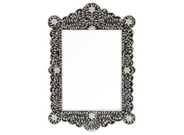 Bone Inlay Scalloped Mirror in Black