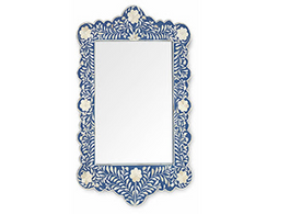 Bone Inlay Scalloped Mirror in Indigo