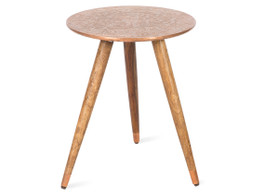 Wood/Metal Carved Stool - Copper