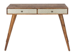 Wood/Metal 2 Drawer Console - Silver