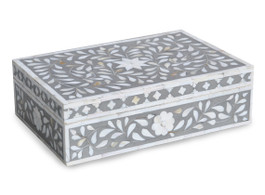 Mother Of Pearl Inlay Box in Grey