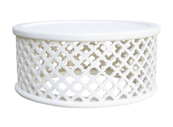 Moroccan Carved Bamileke Coffee Table In White