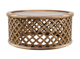 Moroccan Carved Bamileke Coffee Table In Natural