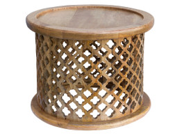 Moroccan Carved Bamileke Side Table In Natural