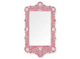 Mother of Pearl Inlay Scalloped Mirror in Strawberry