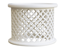 Moroccan Carved Bamileke Side Table In White