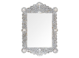 Mother of Pearl Inlay Scalloped Mirror in Grey