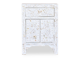 White & Mother of Pearl Inlay Bedside Cabinet