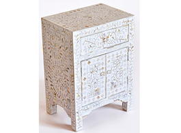 Mother of Pearl Inlay Bedside Cabinet in White