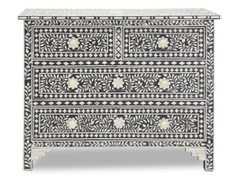 Bone Inlay 4 Drawer Chest in Black