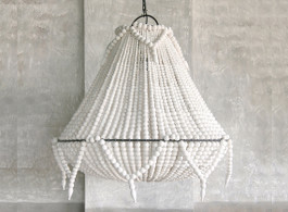 St Lucia Beaded Chandelier In White