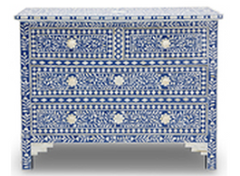 Bone Inlay 4 Drawer Chest in Indigo