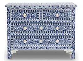 Indigo & Bone Inlay Chest of Drawers