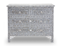 Mother of Pearl Inlay 4 Drawer Chest in Grey