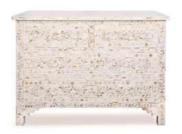 White & Mother of Pearl Inlay 4 Drawer Chest