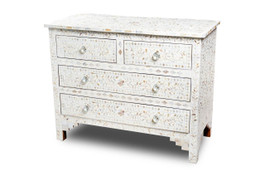 Mother of Pearl Inlay 4 Drawer Chest in White