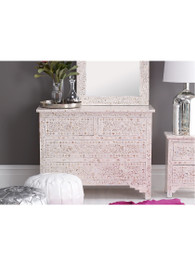 White & Mother of Pearl Inlay Chest of Drawers
