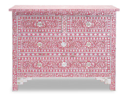 Mother of Pearl Inlay 4 Drawer Chest in Strawberry