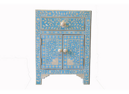 Sapphire & Bone Inlay Bedside Cabinet