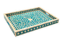Turquoise & Bone Inlay Rectangular Tray