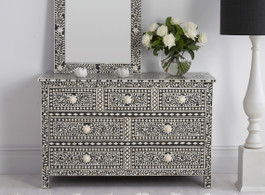 Black & Bone Inlay Chest with 7 Drawers