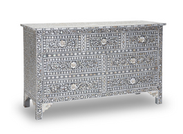 Grey & Mother of Pearl Inlay Chest with 7 Drawers