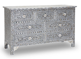 Mother of Pearl Inlay Chest with 7 Drawers in Grey