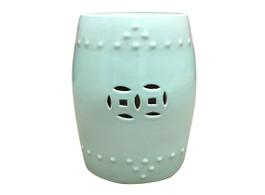 Mint Ceramic Drum Stool