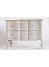 White & Bone Inlay French Chest of Drawers