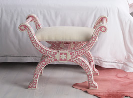 Strawberry & Bone Inlay Stool