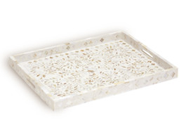 Mother of Pearl Inlay Rectangular Tray in White