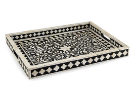 Bone Inlay Rectangular Tray in Black