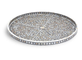 Mother of Pearl Inlay Large Round Tray in Grey