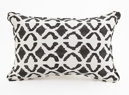 Maasai Lines Linen Cotton Cushion in Black
