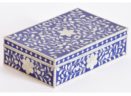 Bone Inlay Box in Indigo