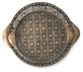 Set of 2 Round Antique Brass Kashmiri Trays