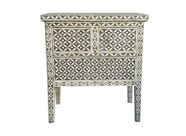 Bone Inlay Side Table in Charcoal