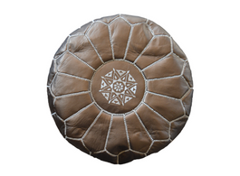 Moroccan Leather Pouffe in Copper