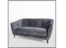Matelasse Sofa in Graphite Grey Velvet