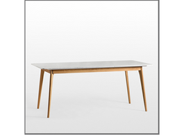 Vesta Marble Dining Table with Oak Frame